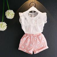 """Костюм летний для девочки блузка """"ришелье"""" и шорты, Корея"""