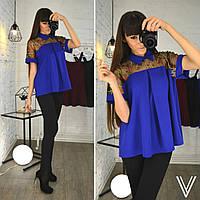 Блузка креп дайвинг + сетка с вышивкой