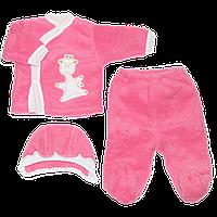Махровый костюмчик на выписку:  кофточка, штанишки и шапочка на завязках, ТМ Бимс, р. 56