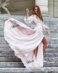 Платье в пол с разрезом и декольте открытые плечи
