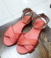 Коралловые кожаные сандалии Donna Italia (Италия)