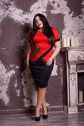 Нарядный костюм блуза и юбка батал