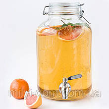 Лимонадница Bormioli, 5л, МЕТАЛЛИЧЕСКИЙ кран (лимонадник, диспенсер), Италия