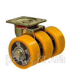 """Колесо 5602-MTS3-126-B(56 """"Medium Top Special"""") Ø 125 мм, поворотное тройное усиленное с крепежной панелью"""
