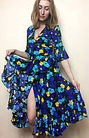 Яркое платье миди на запах рюшей П239, фото 1