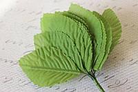 Декоративные листики из ткани 12 шт. зеленого цвета, фото 1
