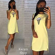 Платье летнее свободное с нашивкой , фото 3