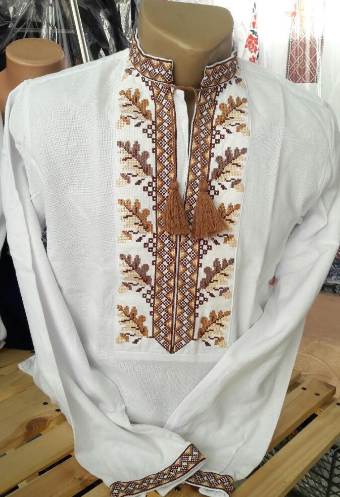 Мужская вышиванка на домотканом полотне (длинный рукав)