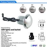 Светильник грунтовый Q3- LED 3W 12V  размер  50мм*47мм IP67  6000К, фото 2