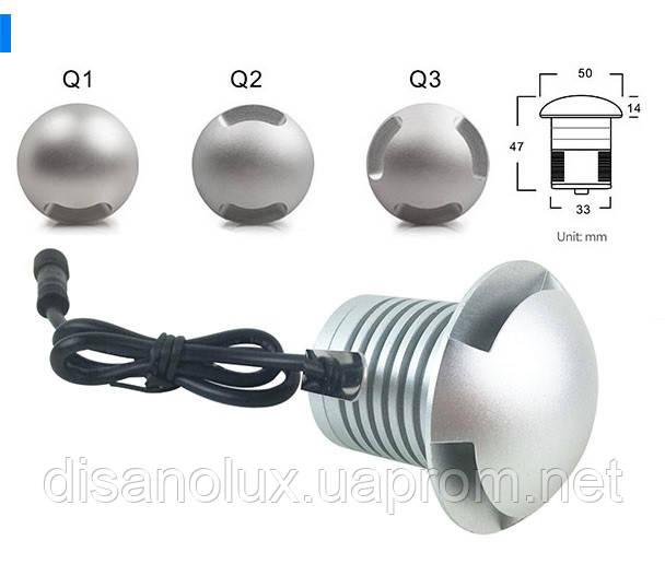 Светильник грунтовый Q3- LED 3W 12V  размер  50мм*47мм IP67  6000К