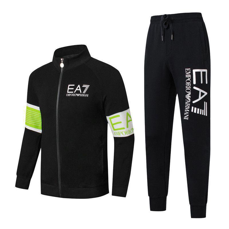 Спортивный костюм EA7 Emporio Armani Athletic Cotton Tracksuit 88233 XL Черный с салатовым (88233)