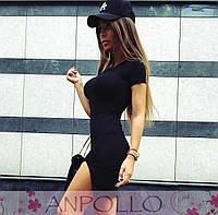 Платье черное обтягивающее с разрезом до бедра