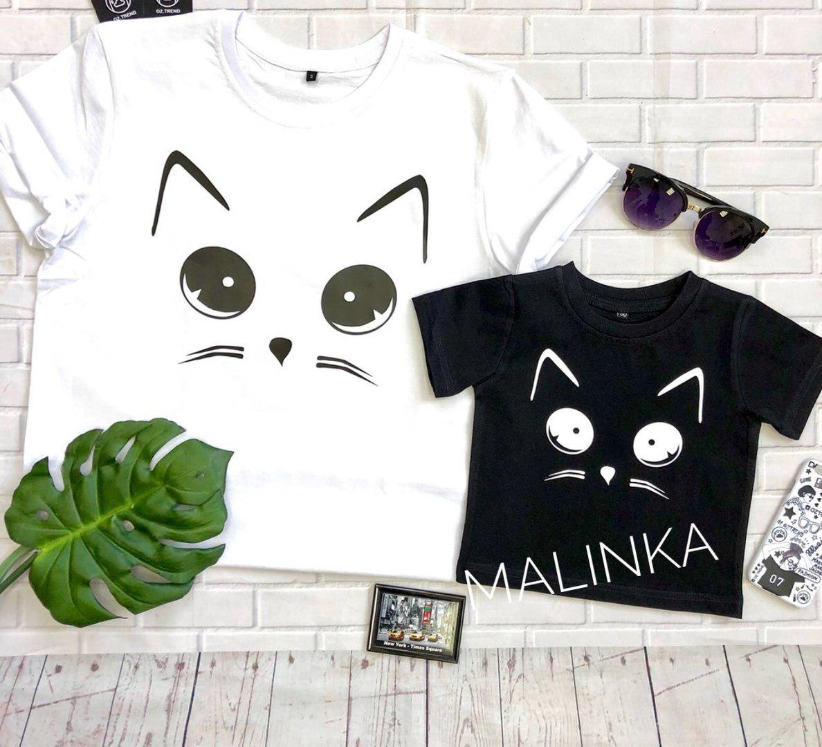Одинаковые футболки с котиками мама+дочка
