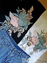 Костюм с цветами шорты джинс и футболка коттон, фото 3