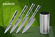 Набор из 4-х кухонных ножей (овощной, универсальный, для тонкой нарезки, Шеф) и подставки в подарочной коробке, Samura Bamboo (SBA-05), фото 3