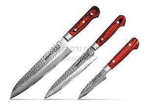 Набор из 3-х кухонных ножей (овощной, универсальный, Шеф) в подарочной коробке, Samura Sakai (SJS-0240)