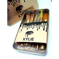 Набор кистей Kylie в контейнере (12 шт, золото) (Реплика)