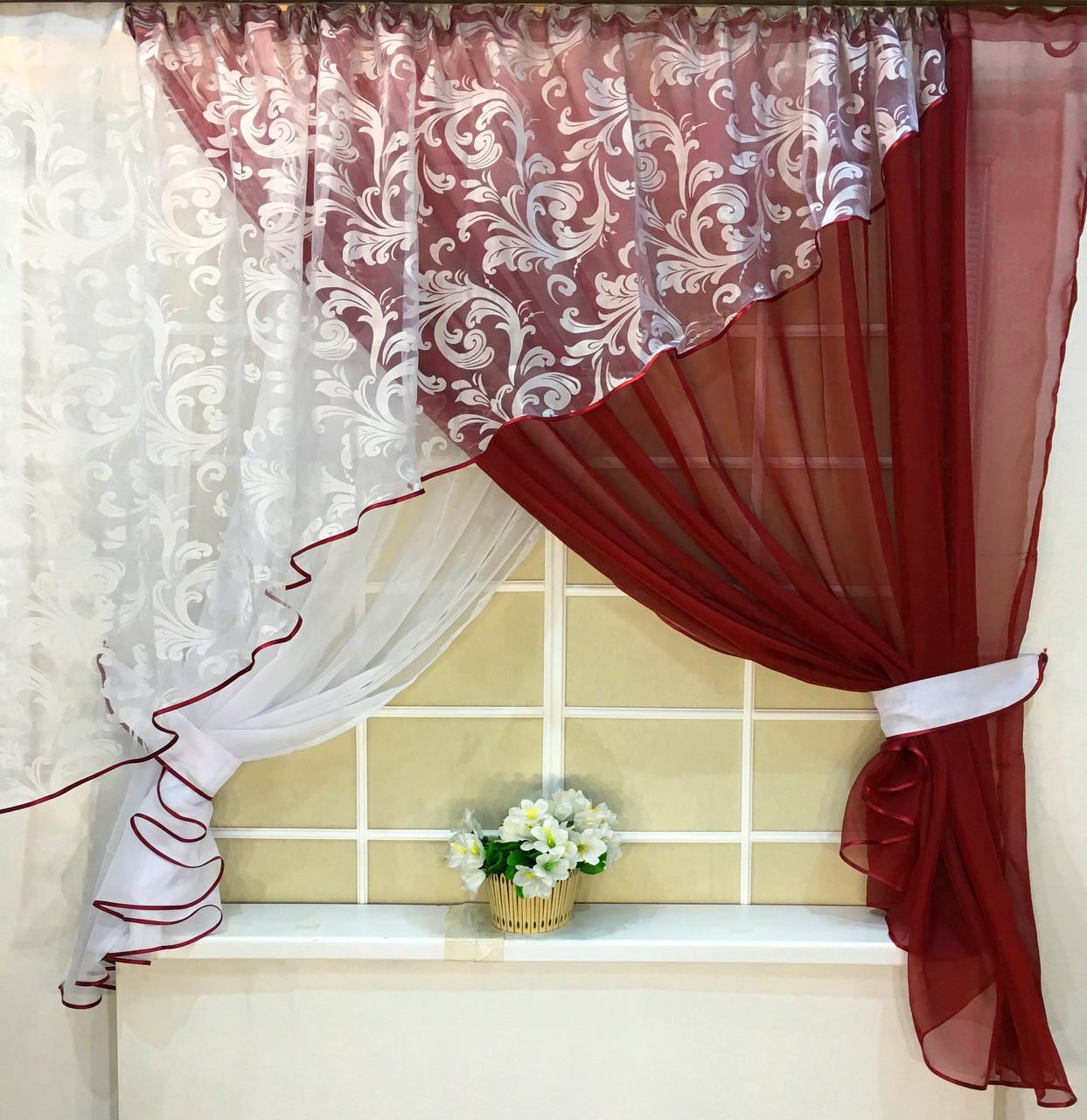 "Кухонные шторы ""Луиза"" Бордо"