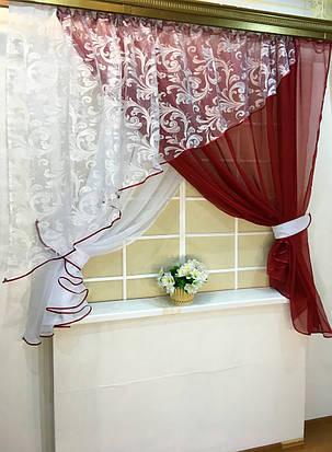"""Кухонные шторы """"Луиза"""" Бордо, фото 2"""