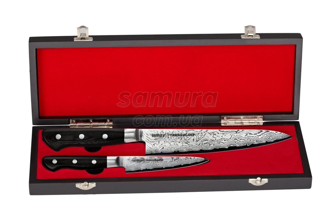 Набор из 2-х кухонных ножей (универсальный, Шеф) в подарочной коробке, Samura Tamahagane (ST-0210)