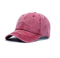 Женская кепка однотонная бордовая