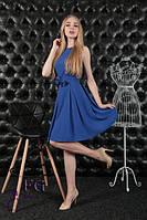 """Легкое однотонное платье с пояском юбка со складками длина миди """"Алиса"""" синее"""