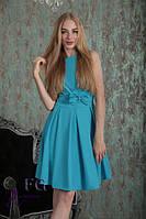 """Нарядное легкое платье без рукавов приталенное с пышной юбкой средней длины """"Алиса"""" голубое"""
