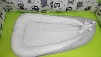 Позиционер люлька кокон гнездышко 80х50 см с кокосовым матрасиком для новорожденного 3995 Серый