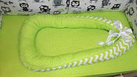 Позиционер люлька кокон гнездышко 80х50 см с кокосовым матрасиком для новорожденного 3995 Салатовый