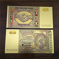 Позолоченная сувенирная банкнота 1 млн. евро