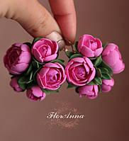 """Большие серьги с цветами """"Пионы цвета фуксия"""", фото 1"""