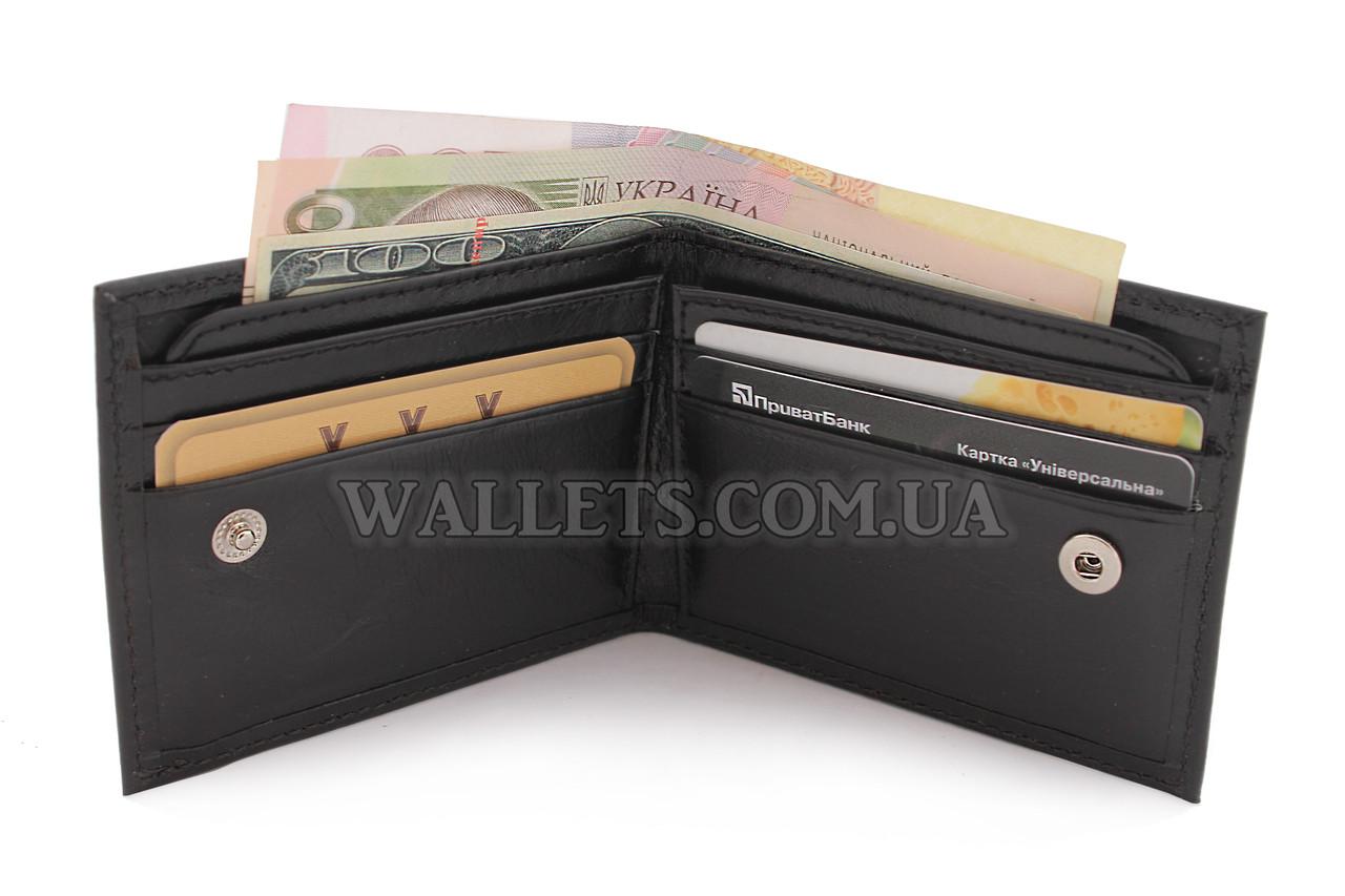 Тонкий шкіряний чоловічий гаманець VIVA, чорний