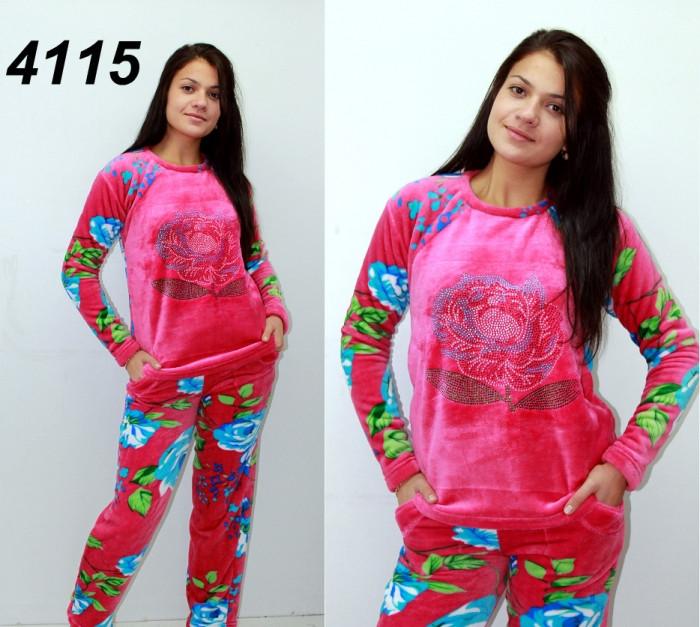Махровая теплая пижама со стразами S M L XL-малиновая