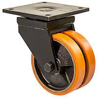 """Колесо поворотне серія 58 """"Twin Hard"""" здвоєне, з кріпильною панеллю, кульковий підшипник, діаметр -80мм"""