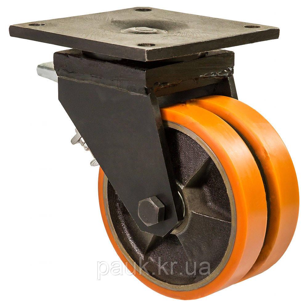 """Колесо 5804-ТH-250-B(58 """"Twin Hard"""") Ø 250мм, поворотне здвоєне, з кріпильною панеллю та гальмом"""