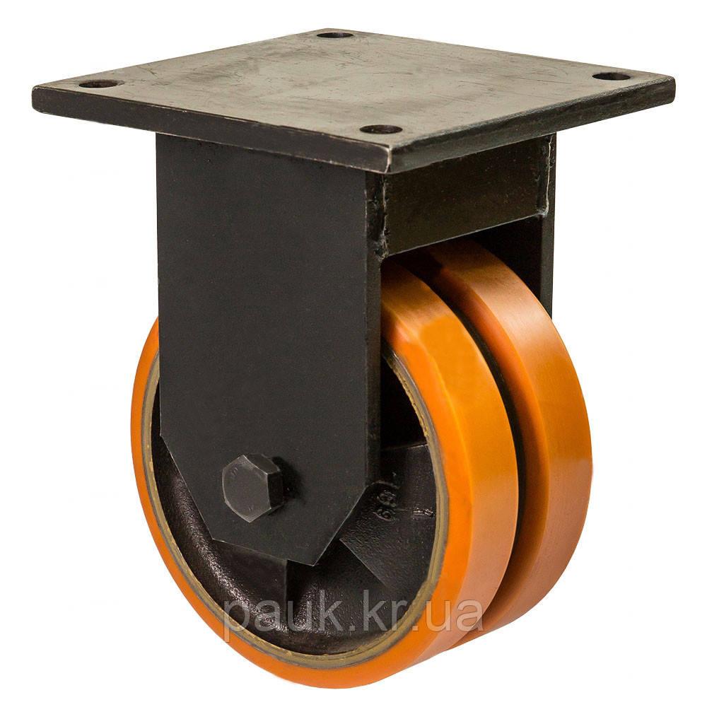 """Колесо 5807-ТH-100-B(58 """"Twin Hard"""") Ø 100мм, неповоротне здвоєне, з кріпильною панеллю"""