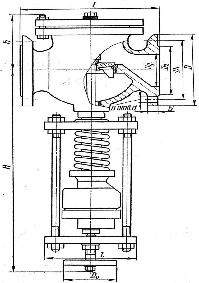Описание: Клапан редукционный пружинный фланцевый 18ч2бр. Чертёж.