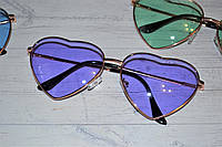 Очки солнцезащитные в форме сердца однотонные Сиреневый