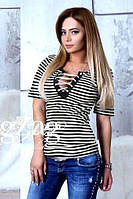 """Модная летняя женская футболка тельняшка в полоску со шнуровкой на декольте """"Dios"""" черная"""