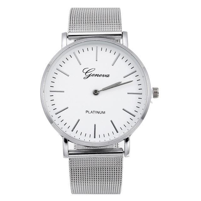 f0c24ffae833 Классические женские часы GENEVA STEEL WHITE SILVER - купить по ...