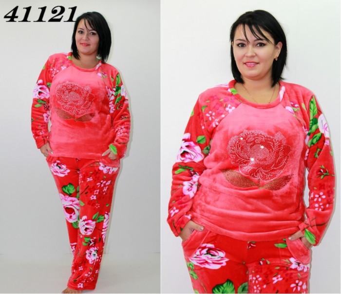Махровая теплая пижама со стразами S M