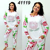 Махровая теплая пижама со стразами S M L XL-молоко