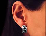 Серебряные крупные резные серьги Розы, фото 2