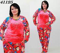Махровая теплая пижама со стразами S M L XL-коррал