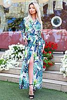 Платье-халат в пол в цветочный принт