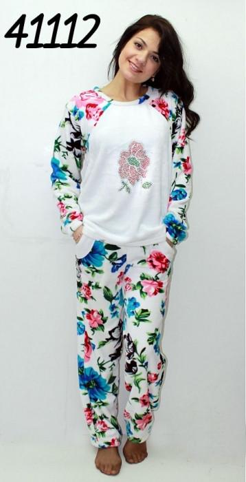Махровая теплая пижама со стразами S M L XL