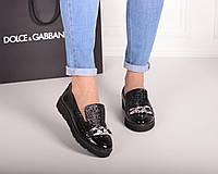 Очень красивые и лёгкие туфли first wl на низком ходу, натуральная кожа чёрного цвета, цепь спереди