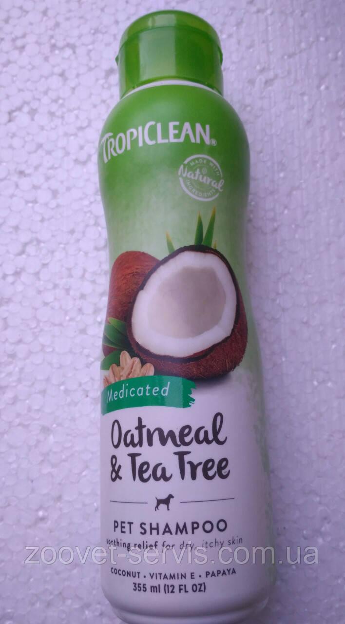 Шампунь лечебный для собак TropiClean Овсяной с экстрактом чайного дерева Oatmeal-Tee Tree