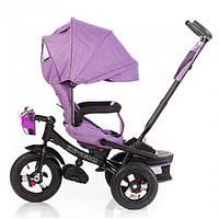 Трёхколёсный велосипед Тилли Кайман Tilly Cayman T-381/2 фиолетовый лен с фарой. Надувные колёса.