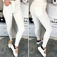 0785-02 белый Selfy (34,36,38,38,42, 5 ед.) джинсы женские летние стрейчевые, фото 1